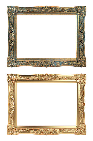 Paintings Frames, Golden and Bronze on White