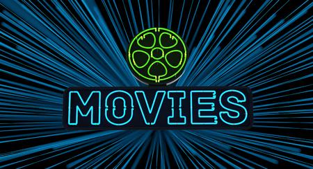 Neon Movies Sign on Dark Background Archivio Fotografico