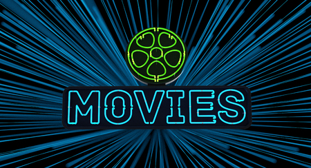 Neon Movies Sign on Dark Background Stock Photo