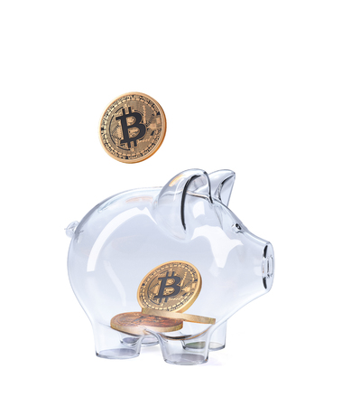 Piggy Bank with Bitcoins. 3D illustration