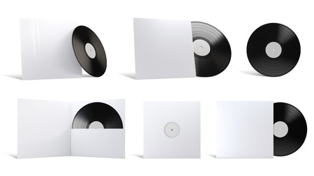 Vinyl Record with Cover Mockups. 3D illustration