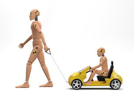 Volwassen mannelijke crash-testpop met kinderpop