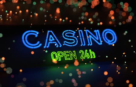 Neon Casino Open 24h Sign. 3D illustration