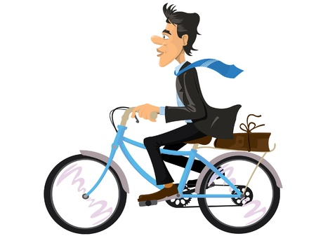 A businessman riding a bike for work Vector