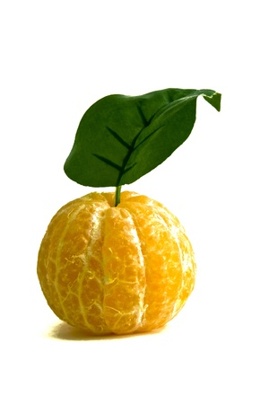 Peeled Clementine Orange with stem and leaf on white background