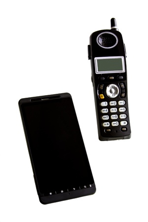 A smartphone with home and office portable phone on white background