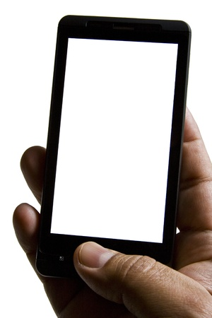 A smartphone operated by one hand on white background with copy space photo