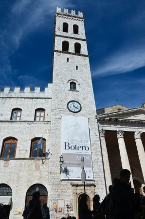 clock tower: clock tower in Assisi Editorial