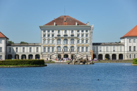 Nymphenburg castle with panoramic view of the lake