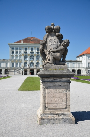 Nymphenburg, view of the castle with a statue at the entrance Editorial