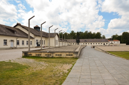 Concentration camp at Dachau, seen most of the barracks memorial