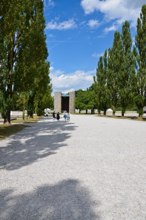 The concentration camp at Dachau, view of the tree and the Catholic chapel
