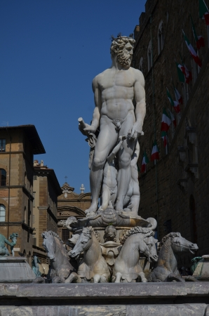 Florence, view of the fountain of neptune