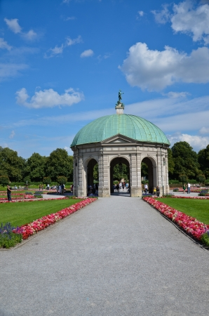 Hofgartentempel, or temple of Diana, townhouse gardens, Munchen Editorial