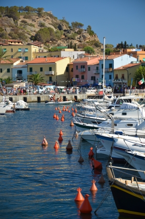 Tuscany, Island lily view of the harbor port Editorial