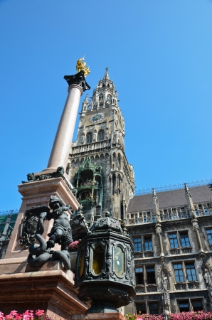 Marienplatz,Munchen of Bavaria Mariens�ule column of virgin and Neues Rathaus