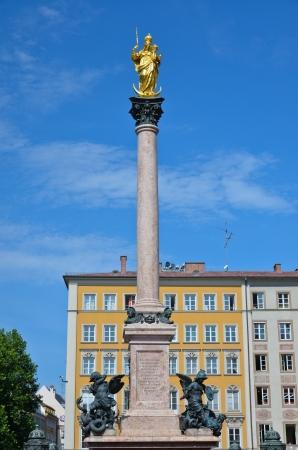 Munchen of bavaria column of the Virgin Mary Stock Photo