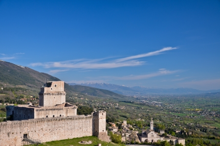 Assisi, view of the fort and the Basilica of St  Clare