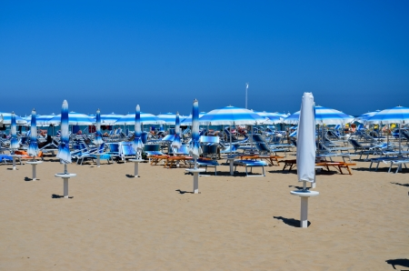 Rimini, view of the beach with umbrellas Editorial