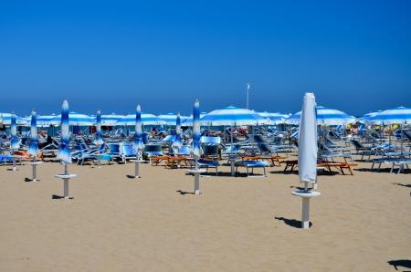 rimini: Rimini, view of the beach with umbrellas Editorial