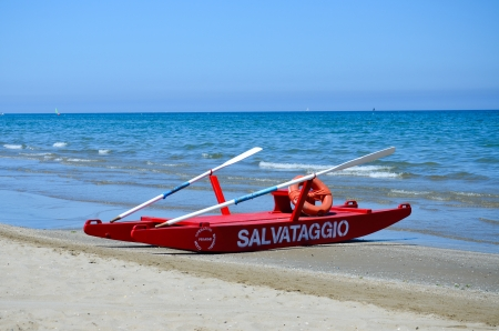 Rimini, view of the beach and the lifeboat