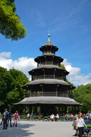Chinese tower in the park Inglese Garden Munich