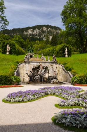 Fountain of Neptune in the park of the castle of Linderhof