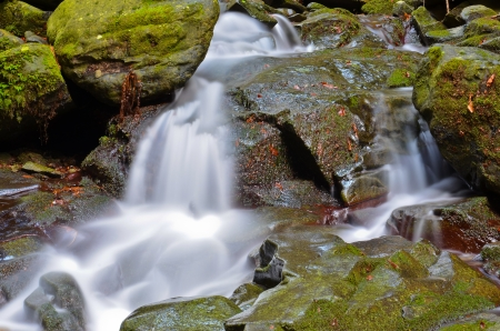 view of the torrent in a series of small waterfalls Stock Photo