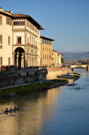 view of the river Arno and the Uffizi in Florence