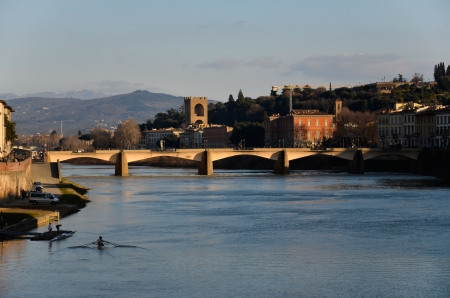 overlooking the beautiful river Arno in Florence