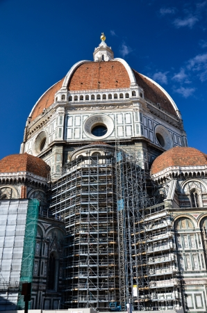view of the cathedral with the scaffolding for the restoration