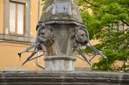 Detail of the fountain of San Faustino Stock Photo