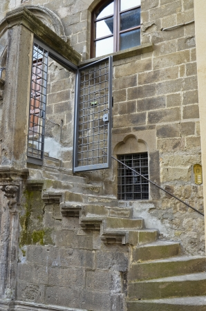 View of a stairway in a historic palace of Viterbo.