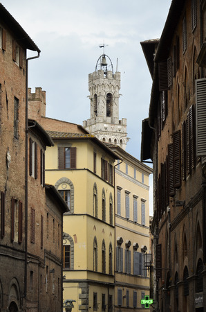 evocative: Evocative view of the tower of Mangia in Siena