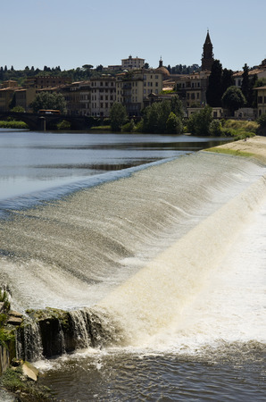 weir: Lovely view of the weir of the River Arno in Florence Stock Photo