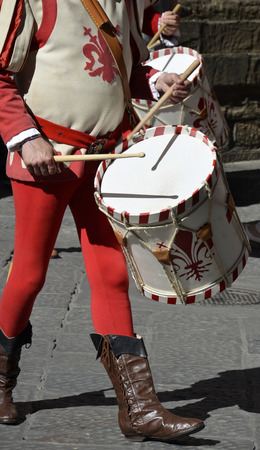 Precursors of drums in a historical re-enactment