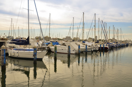 evocative: Evocative view of boats moored in the harbor