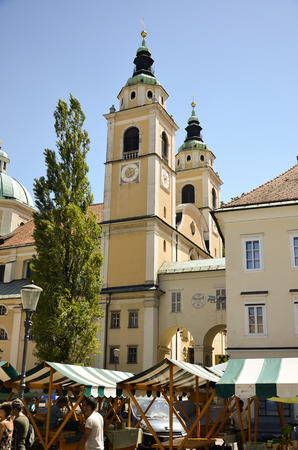 Resumption of the characteristic towers of the Cathedral of St. Nicholas, Slovenia Editorial