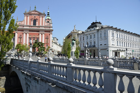 Characteristic view of the triple bridge and the Franciscan Church, Slovenia