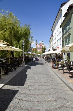 Along the river in Ljubljana, full of Premises.