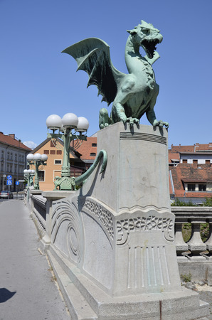 Overlooking the picturesque statue located on the Bridge of Dragons, Slovenia