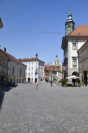 Characteristic view of the town hall square, Slovenia Editorial