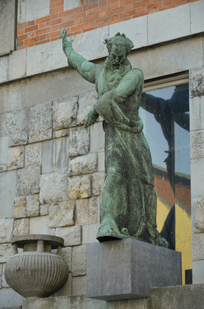Statue overlooking the entrance to the National and University Library, Slovenia