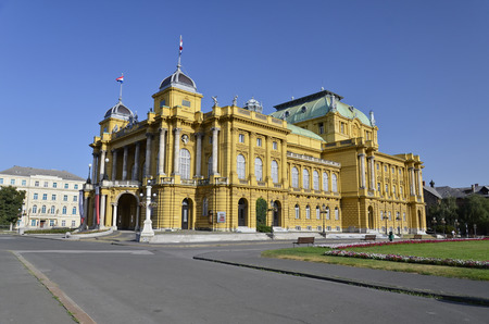 Quaint building in neo-baroque style, home of the famous Croatian National Theatre Editorial