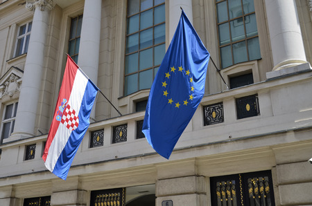 Croatia and the European flag on display in front of the parliament Stock Photo