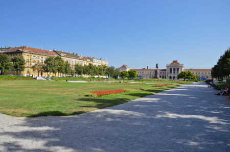 Beautiful public park that stretches in front of the station in Zagreb Editorial