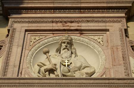 pilgrim journey: Bas relief of St. Stephens Basilica in Budapest, Hungary