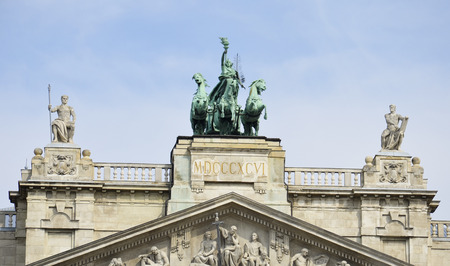 View of the beautiful statues placed above the entrance of the Museum of Ethnography in Budapest