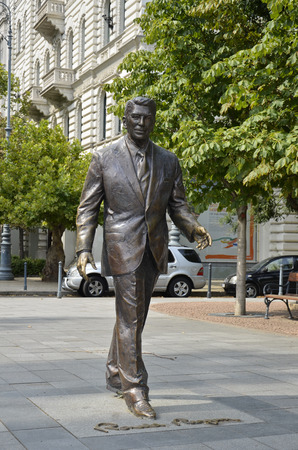 Statue dedicated to American politician Ronald Reagan, Hungary. Editorial