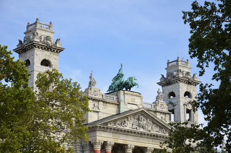 ethnography: View of the beautiful statues placed above the entrance of the Museum of Ethnography in Budapest